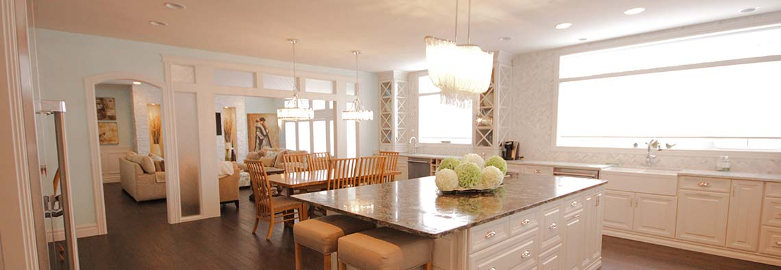 image of an open concept kitchen with center island